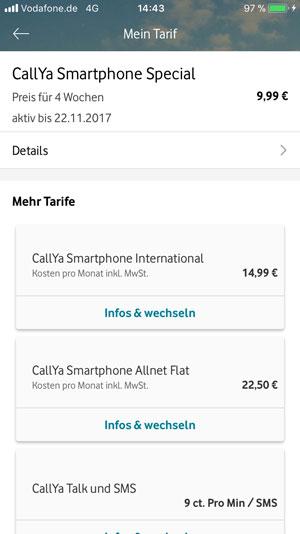 Auswahl zwischen Callya Smartphone Special und Allnet