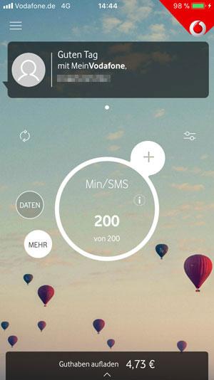 Mein Vodafone App verfügbare Freiminuten