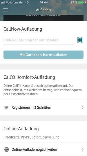 Aufladen per Callnow App